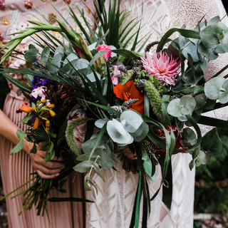 August Wedding with a Tropical Woodland Theme